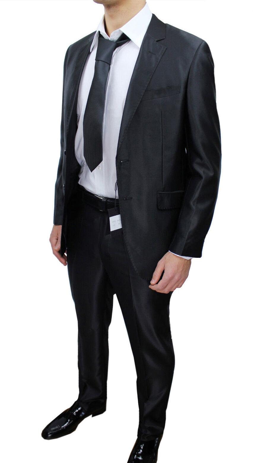 ABITO DA men SARTORIALE 08111 black RASO LUCIDO NUOVO COMPLETO VESTITO ELEGANTE