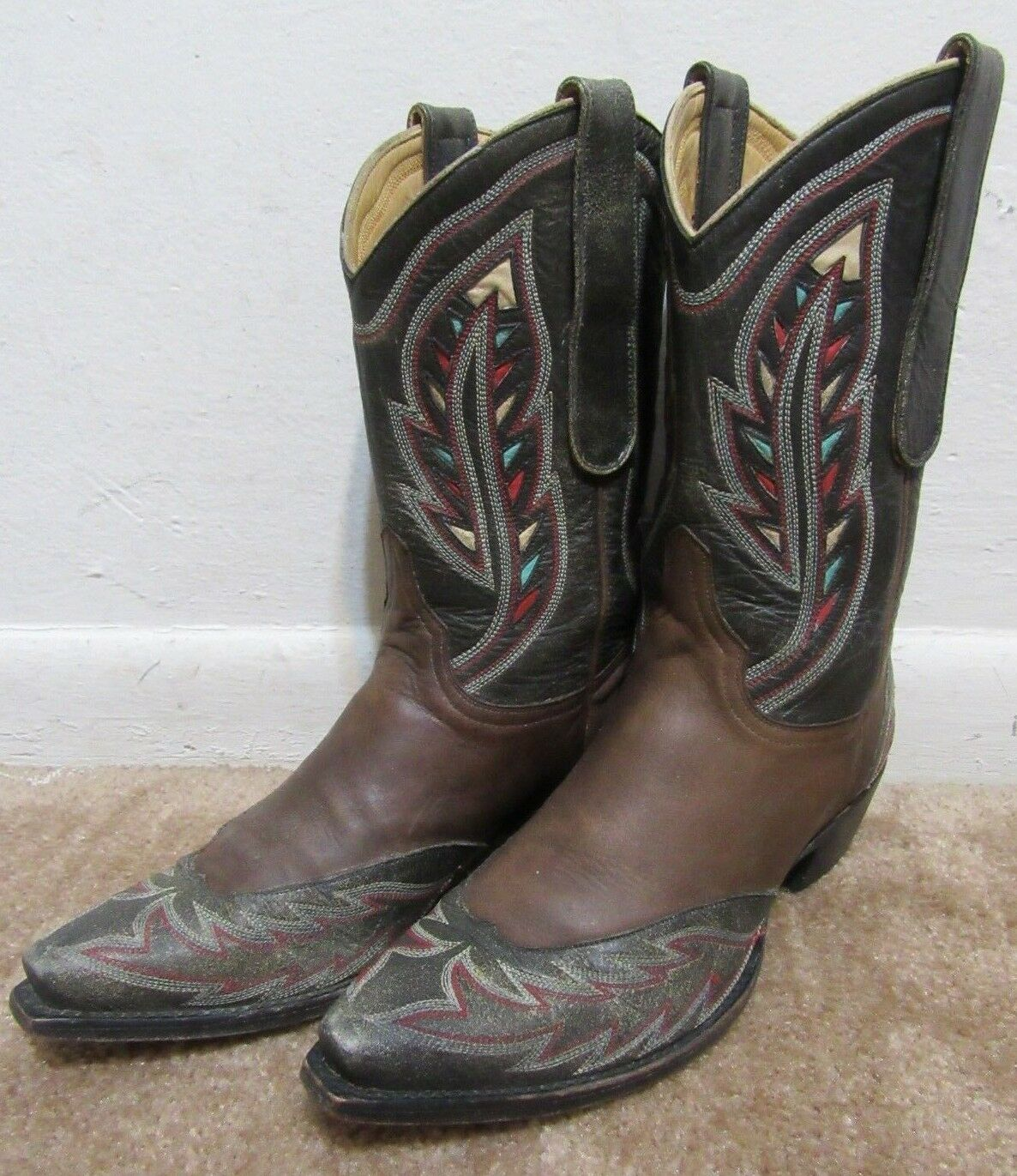 The Old Gringo Boots Leather Western Cowboy Boots 7.5 7.5 7.5 7 1 2 Brown Black 638 L@@K 66f9be