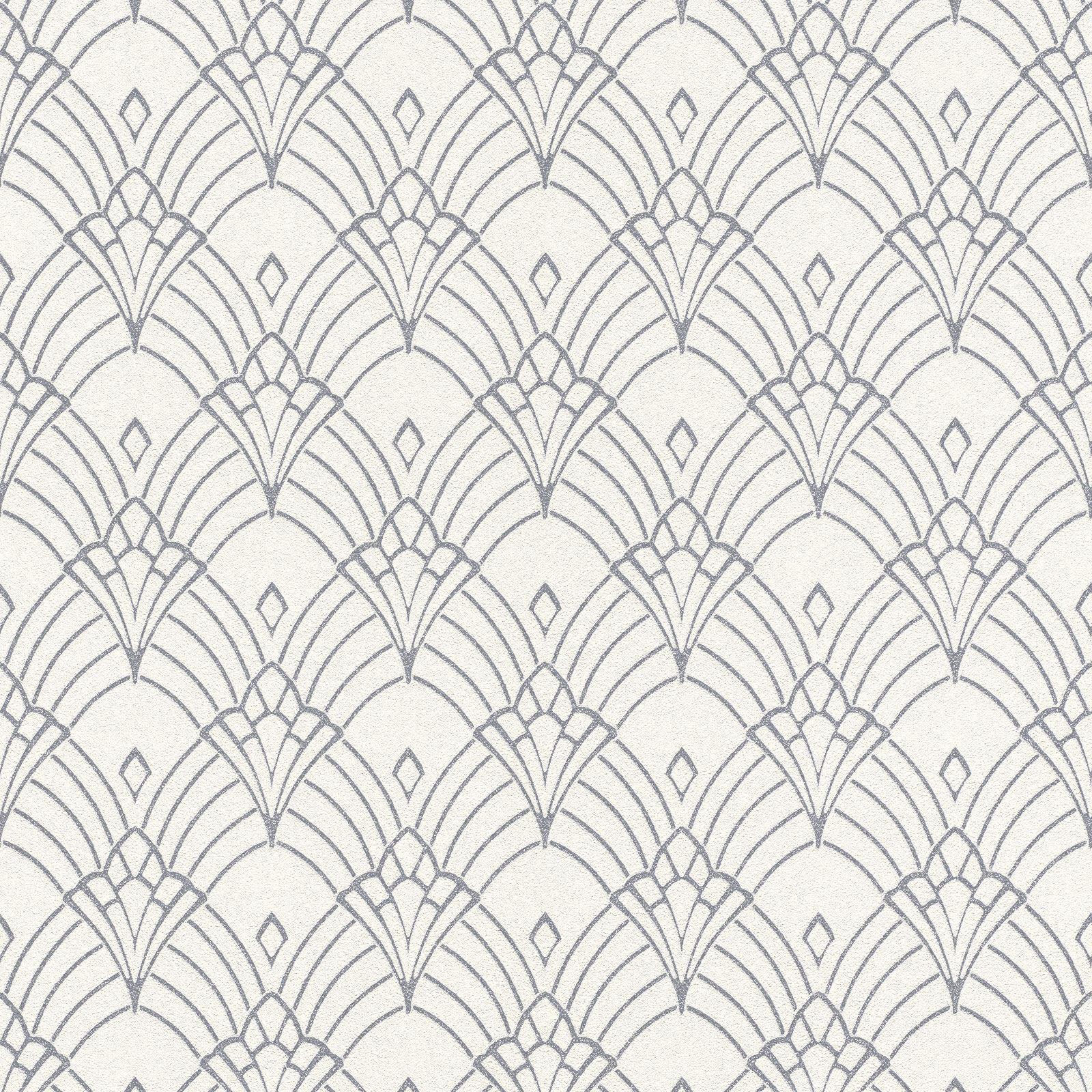Modern Art Deco Deco Art Astoria Papier Peint Blanc Argent Rasch