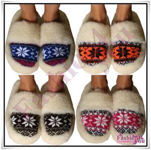 100-Merino-Sheep-Wool-Slippers-Cozy-Foot-Sheepskin-Women-s-Men-039-s-Size-3-10-UK