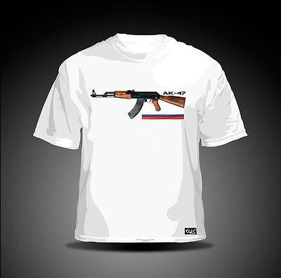 """AK-47/"""" weiß Russland Russia Gewehr EAKS® Herren T-Shirt /""""Awtomat Kalaschnikowa"""