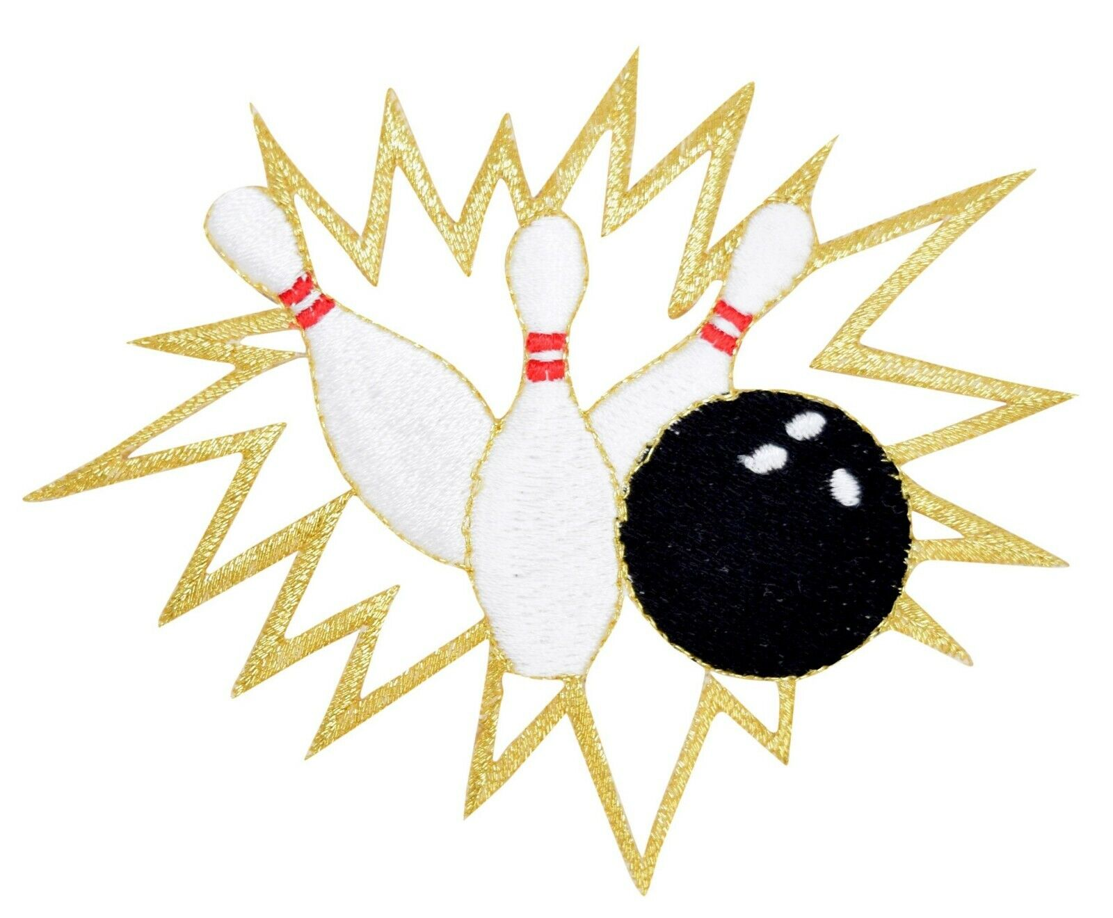 Embroidered Glitter Bowling Ball Sport Applique Jacket Patch Iron On Sew USA