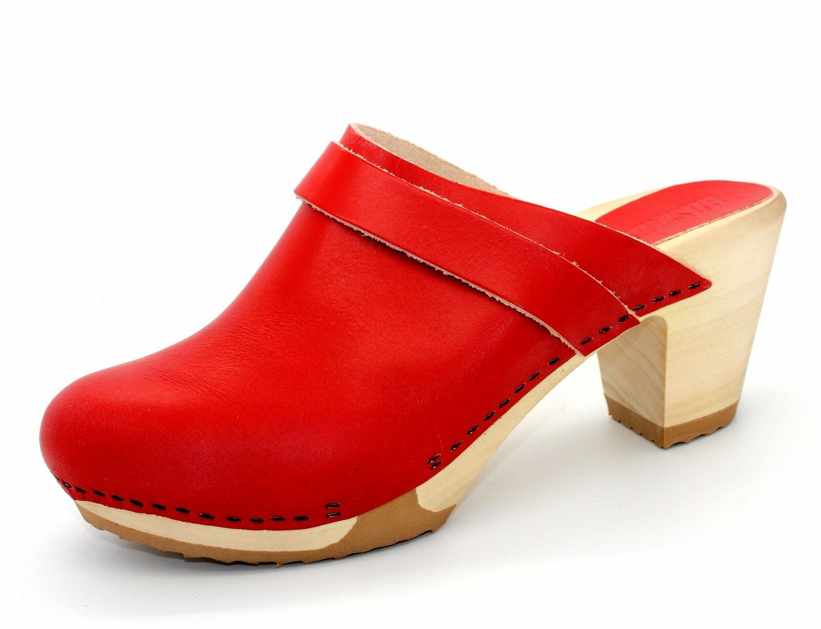 Bosabo Kety Womens UK UK UK 6 EU 39 Red Leather New Mule Clogs with Wooden Sole e9d7da