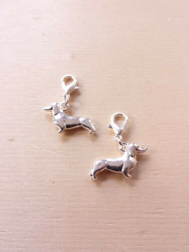 2 x Dackel Anhänger mit Karabiner ♥ Hunde Schmuck ♥ Basteln Deko Charms Silber