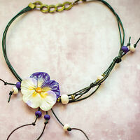 Party Jewelry Set Violet Pendant Necklace Choker & Ring Handmade Gift For Women