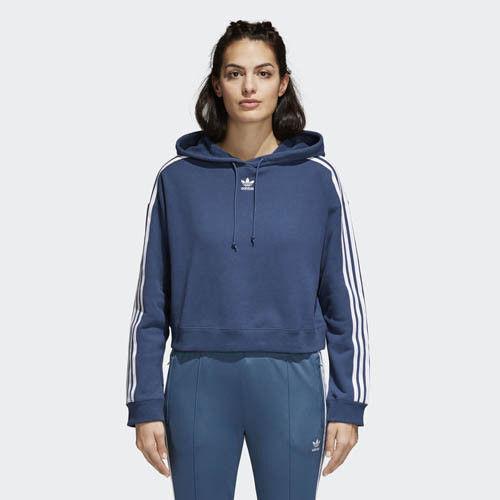 NWT damen Adidas Originals Trefoil 3-Stripes Cropped Hoodie Mineral Blau Large L