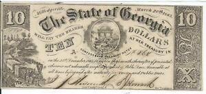 10-1865-CSA-Georgia-Milledgeville-signed-Low-Serial-868-Train-Bank-Note-CR33