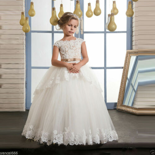 Lace Appliques Flower Girl Dresses With Belt Ball Gown Holy Communion Dress