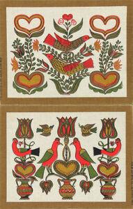 ROBT-DARR-WERT-Vtg-1950s-60s-Set-COUNTRY-PRINTS-Serigraphs-BIRD-amp-FLORAL-MOTIFS