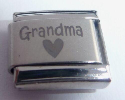 negro corazón encanto italiano de pulseras de arranque 9 mm clásico I Love My Abuela