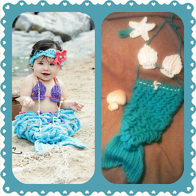 Baby Mermaid Outfit crochet halloween photo prop set shower gift C costume