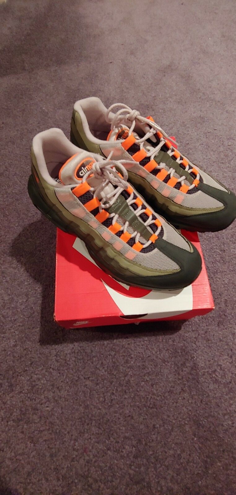 NIKE AIR MAX 95 OG String Total Orange Neutral Olive Undefeated Mens AT2865-2