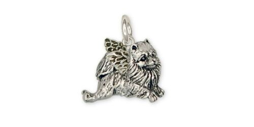 Pomeranian Angel Charm Handmade Sterling Silver Dog Jewelry PM9-AC
