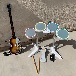 Wii Rock Band Bundle, Beatles Guitar W/ Dongle + Wired Drums, Pedal, Sticks, Mic