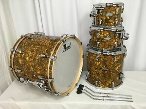 Pearl Music City Custom Reference 4 Pc Drum Kit Golden Yellow