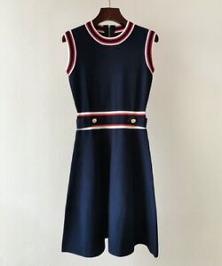 AUTH-Ted-Baker-APRYLL-Knitted-Sleeveless-Skater-A-line-dress-Navy