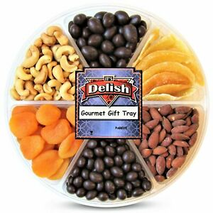 Gourmet Holiday Chocolate, Dried Fruit and Salted Nuts Large Gift Tray 6-Pt...