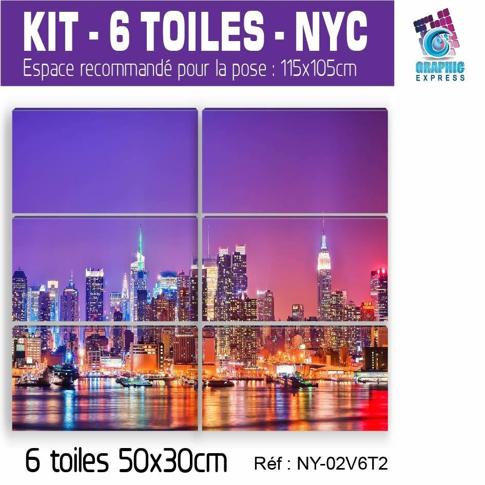 115x105cm - Kit 6 Gemälde Print- Bild Dekoration Wand-. New YORK-NY-02V6T2