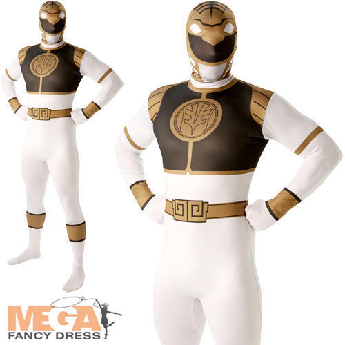 White Power Ranger Mens Fancy Dress Mighty Morphin 2nd Skin Suit Adults Costume
