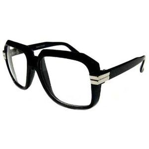 5f2ceaa0bc08 Clear Lens Retro Gazelle Run Dmc Style HIP HOP Black Sun Glasses w ...
