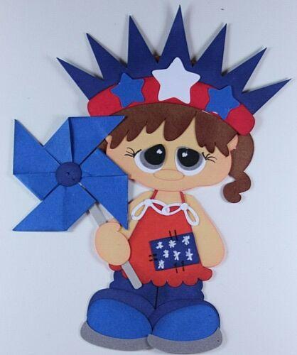 4TH OF JULY KIDS BOY GIRL Paper Piecing Premade Scrapbook Border Scrapbooking