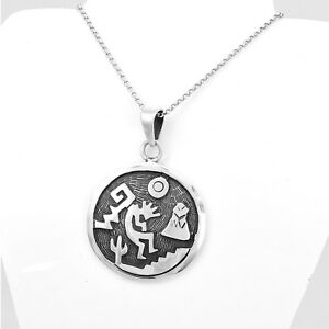 Sterling silver artisan kokopelli pendant with cactus and moon taxco image is loading sterling silver artisan kokopelli pendant with cactus and aloadofball Choice Image