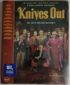 NEW-KNIVES-OUT-4K-ULTRA-HD-BLU-RAY-2-DISC-SLIPCOVER-BESTBUY-EXCLUSIVE-STEELBOOK