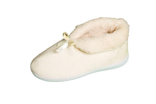 Señoras Mujeres Zapatillas De Piel Sintética Tirar Botas Botines Arco de la cinta blanda cálida casa