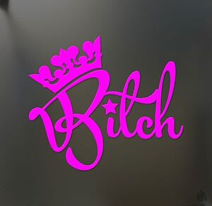 Queen Bitch Funny Sticker Princess Crown Jdm Drift Honda Pink Girl