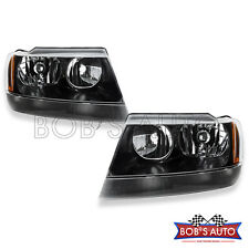 99-04 Jeep Grand Cherokee Overland Laredo Factory Style Black Headlights Pair