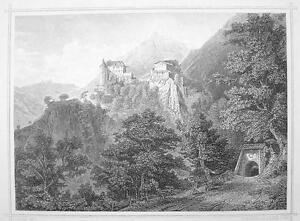ITALY-Tirol-Vastle-Castel-Tirolo-South-Tyrol-1870s-Original-Engraving-Print