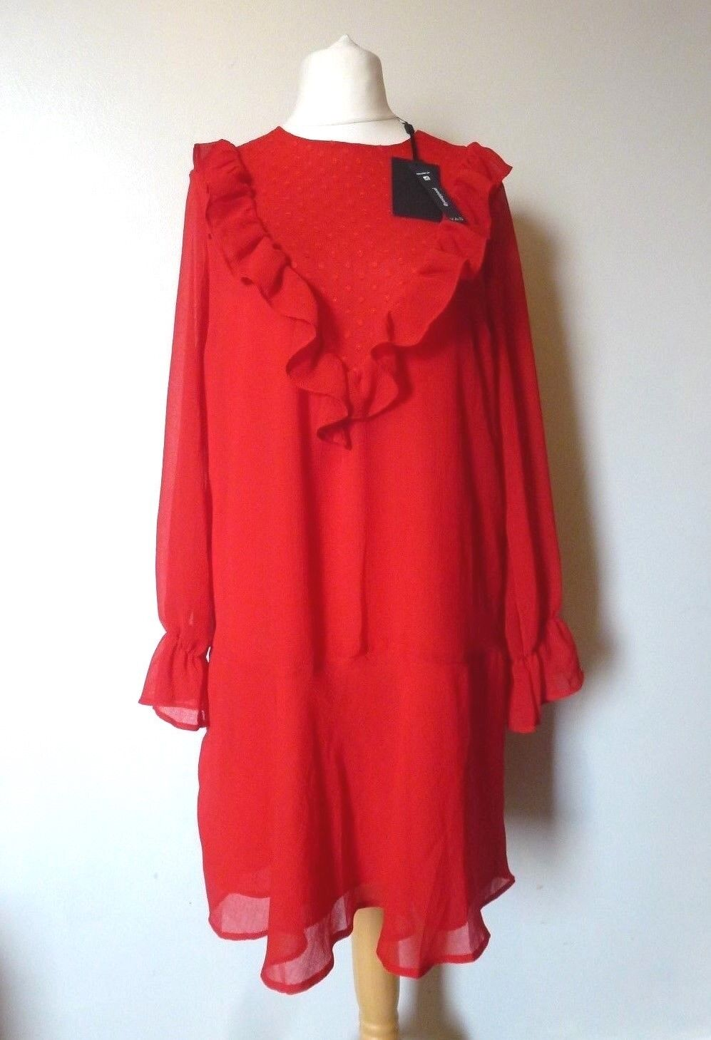 Y.A.S Riku Long Sleeve Textured Ruffle Dress Size 12 BNWT RRP  Red