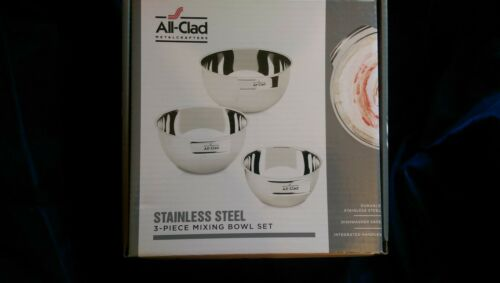 All Clad Stainless Steel 3 piece Mixing Bowl Set