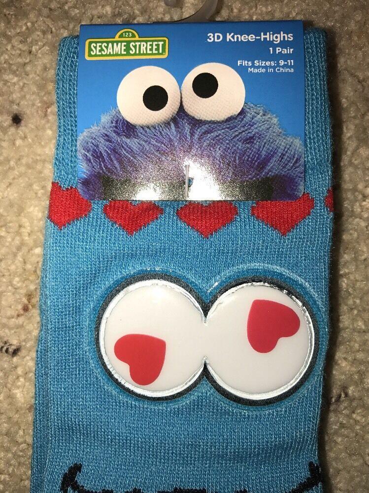 2bd4fd76c Ladies Sesame Street Cookie Monster 3d Knee Highs Socks Sz 9-11 for ...