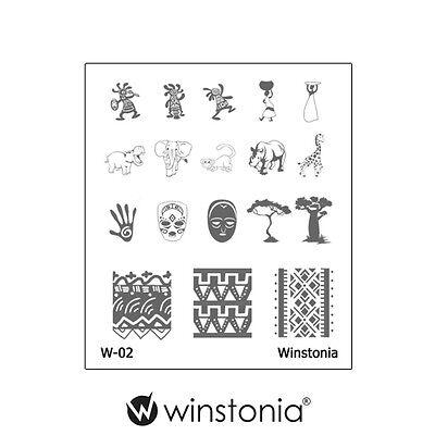 Winstonia Safari Nail Art Stamping Image Plate Manicure Polish Elephant Africa