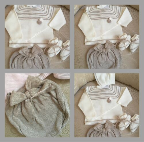 Spanish baby Knit set outfit with booties 1-3-6 months available  Romany