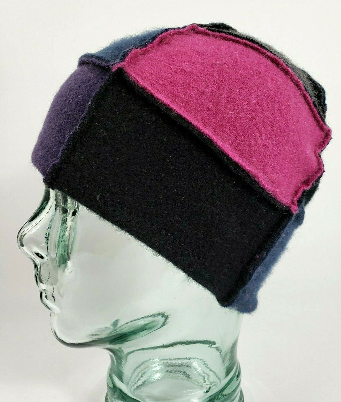 # 100% Pure Cashmere Sombrero Gorro Unisex Rosa Negro Hecho a Mano Regalo A76