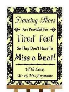 Amarillo Negro Damasco Zapatos de baile con los pies cansados Personalizado Boda Signo