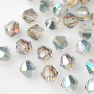 50pcs-6mm-Bicone-Faceted-Crystal-Glass-Charms-Loose-Spacer-Beads-Rose-Green