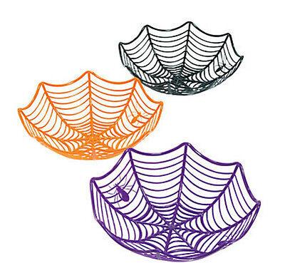 "3 plastic 11"" Spider Web Baskets SPIDERWEB bowls Halloween Party Favor DECOR"