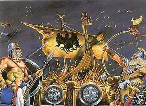VIKING FUNERAL PYRE ART PRINT POSTER tyr thor asatru nordic norse mythology odin