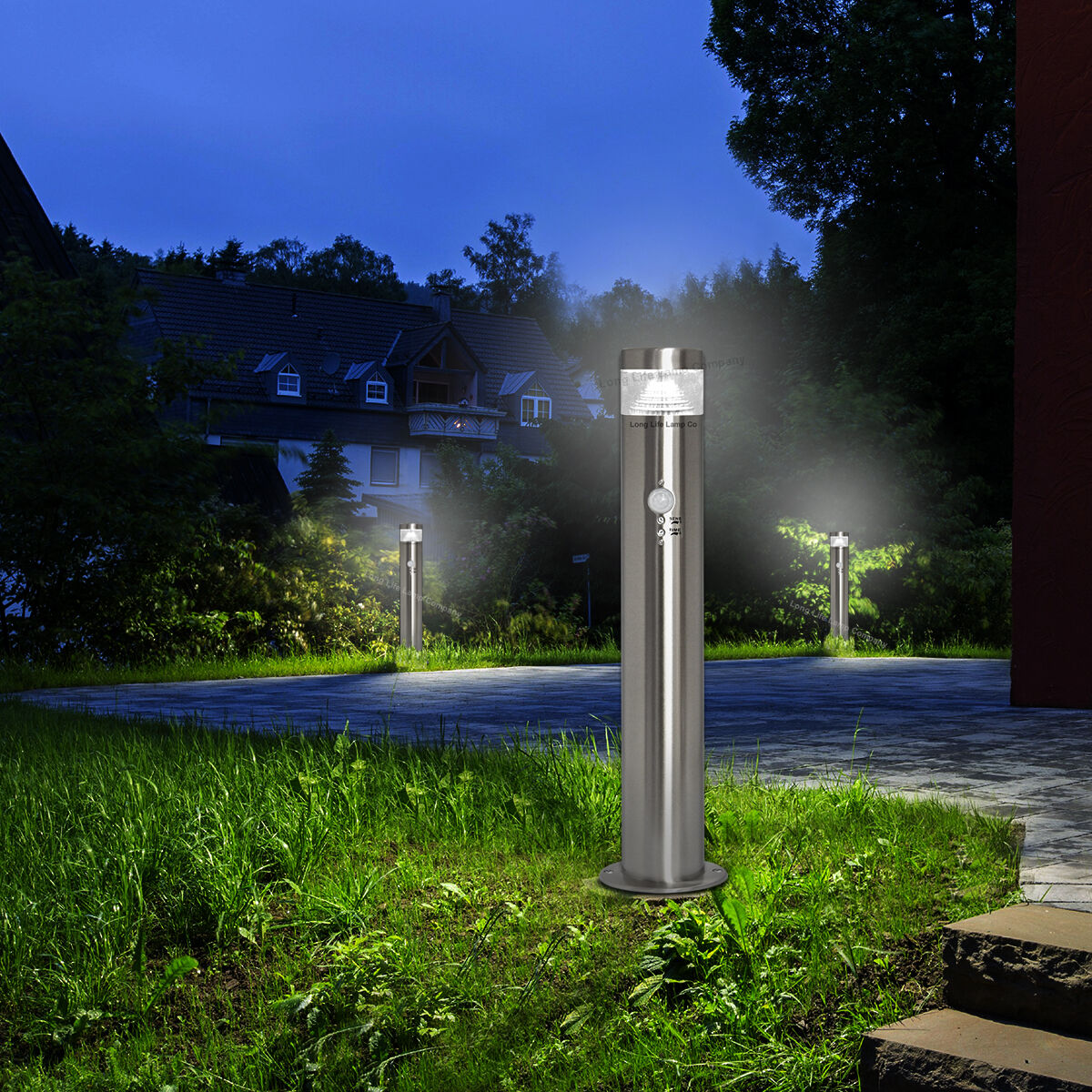 Details About Pir Led Bollard Garden Lamp Post Stainless Steel Outdoor Motion Sensor Light