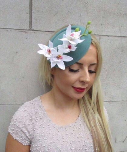 White Teal Green Orchid Flower Pillbox Hat Fascinator Races Rockabilly Vtg 3194
