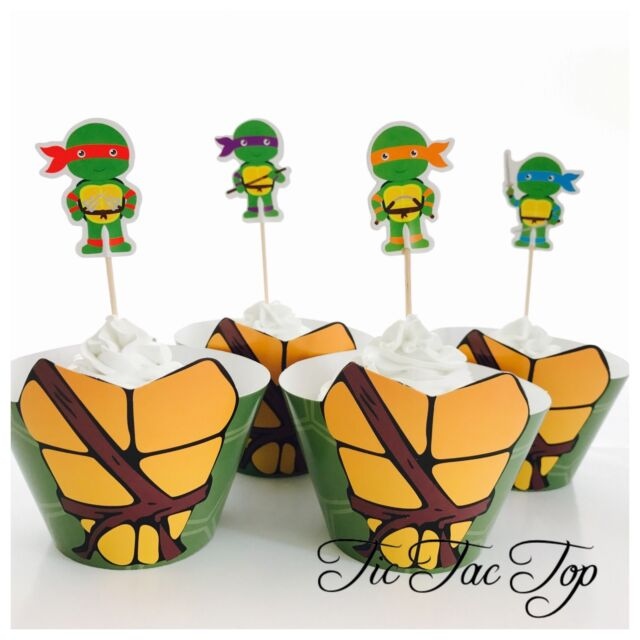 12 TMNT Ninja Turtle Cupcake Wrapper + 12 Topper. Party Supplies Loot Lolly Bag