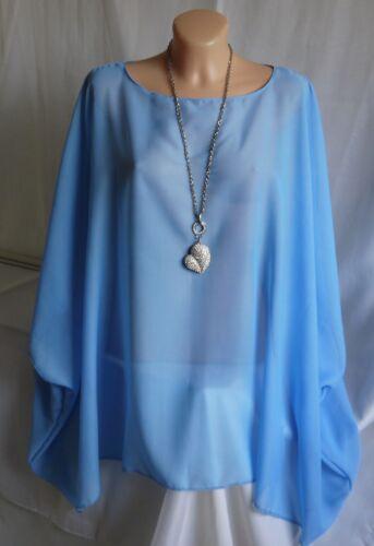 48 Damen Chiffon Tunika Bluse Überwurf Blusenshirt Zipfelbluse Hellblau Gr