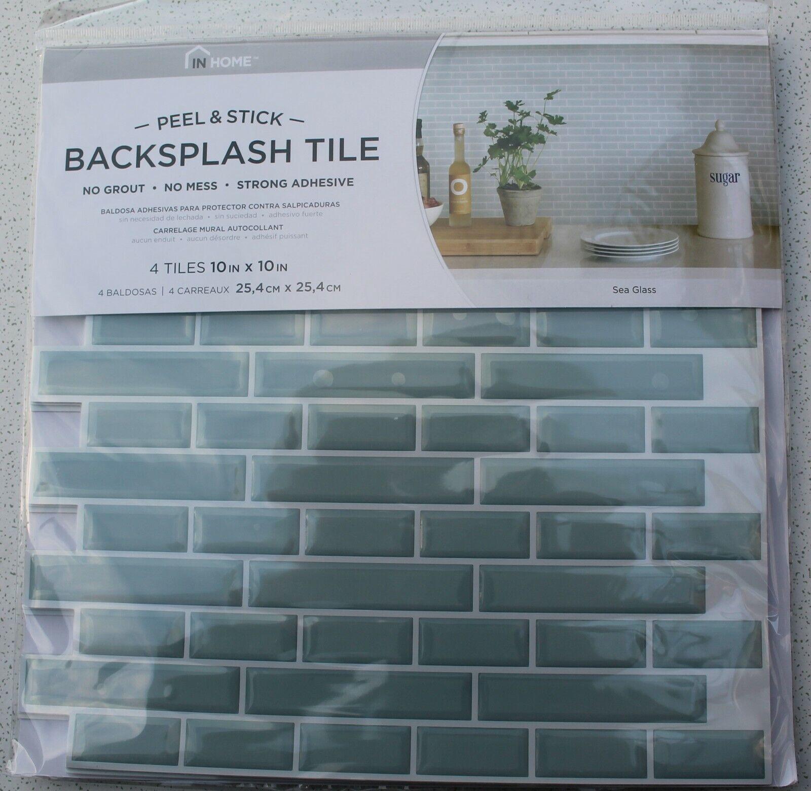- Inhome NH2361 Sea Glass Peel And Stick Backsplash Tiles Blue For