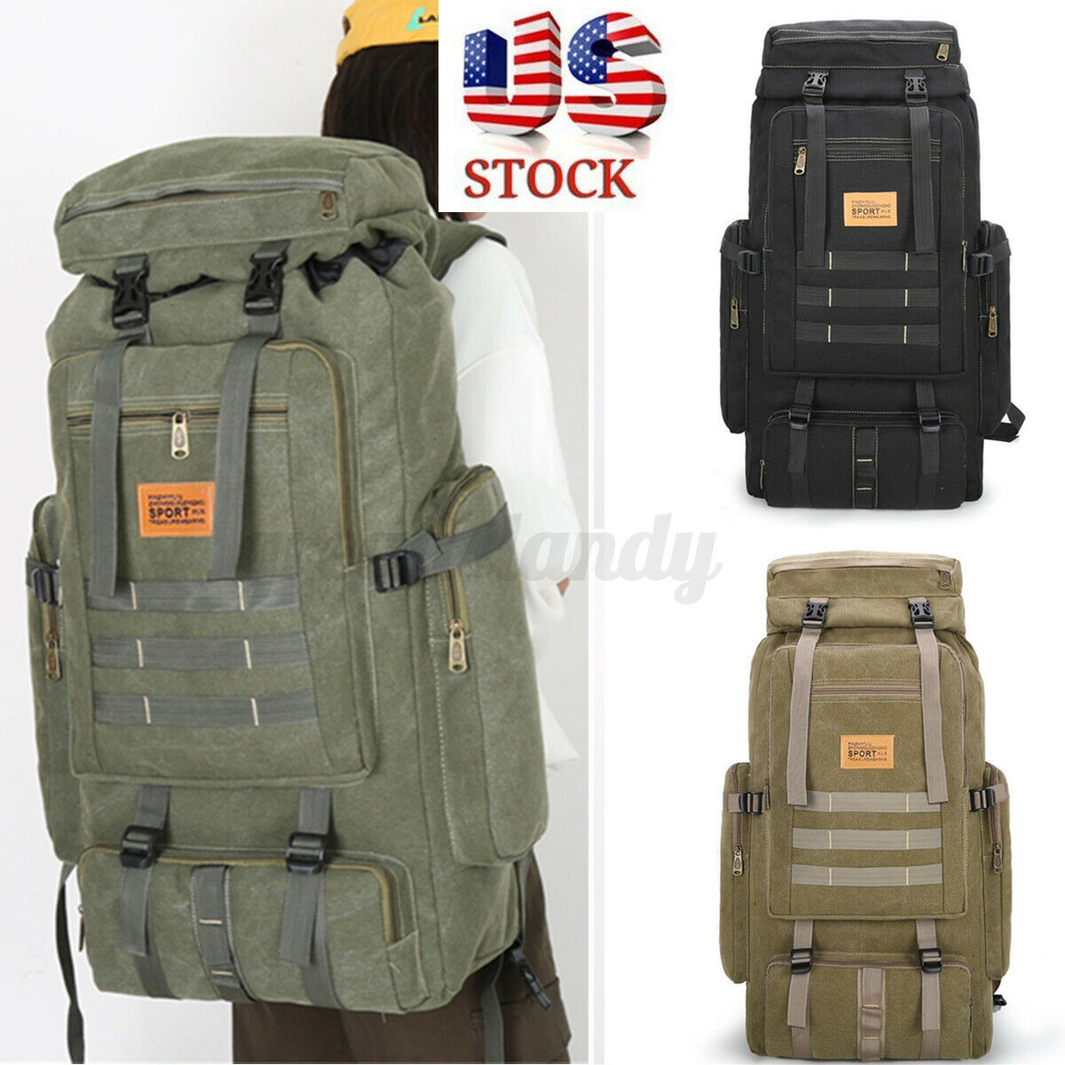 80L waterproof Tactical that is military Backpack Camping Hiking Trave... - s l1600