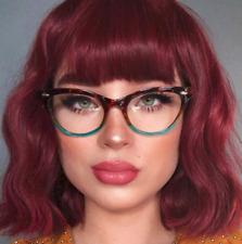 """Cat Eye Vintage Retro """"Ombre""""  Women Eyeglasses Blue Green Bottom Tortoise SHADZ"""