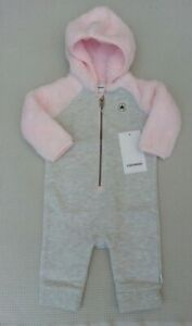 BNWTS-Converse-Baby-Girls-All-In-One-Hooded-Romper-Babygrow-Pramsuit-6-9-months