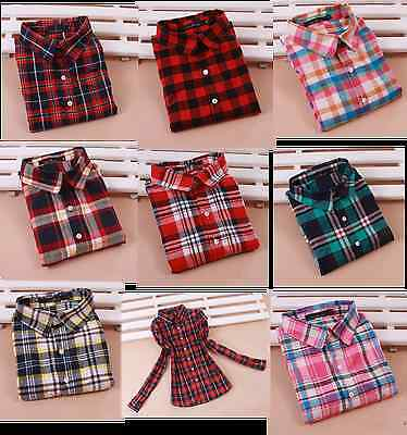 new womens mixed-color casual short plaid single breasted shirt blouse 3 color